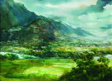 watercolor painting of mountains and fields